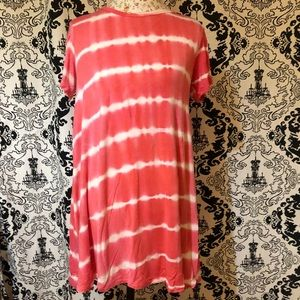 Rue 21 Pink/Coral and White Tie Dye Dress